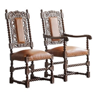 Antique Jacobean Style Mahogany Chairs - A Pair