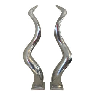 Large Aluminium Sculptural Curved Horns - a Pair