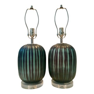 Contemporary Fluted Blown Glass Black & Green Lamps - A Pair