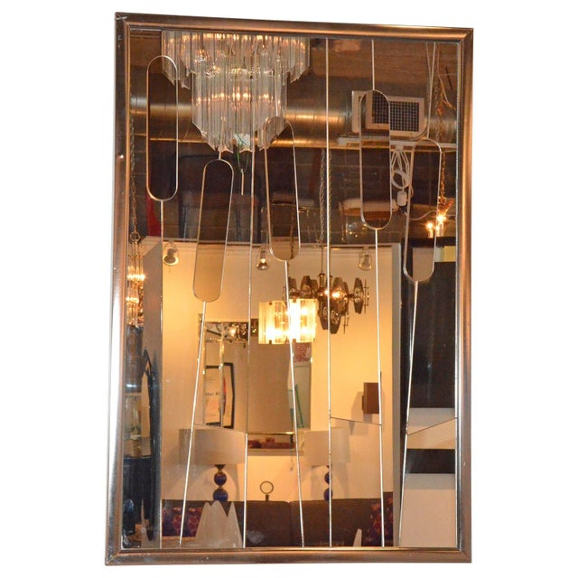 "Cut-Glass Modern ""Cat Tails"" Mirror - Image 4 of 6"