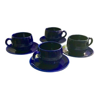 Mid-Century Scandinavian Old Hoganas Keramik Tea Cup and Saucer Set of 4 - 8 Pieces