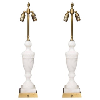 Pair of White Marble Lamps