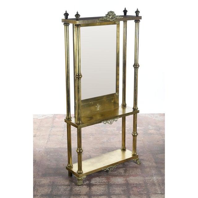 Antique Victorian Brass & Beveled Mirror Hall Tree - Image 2 of 9