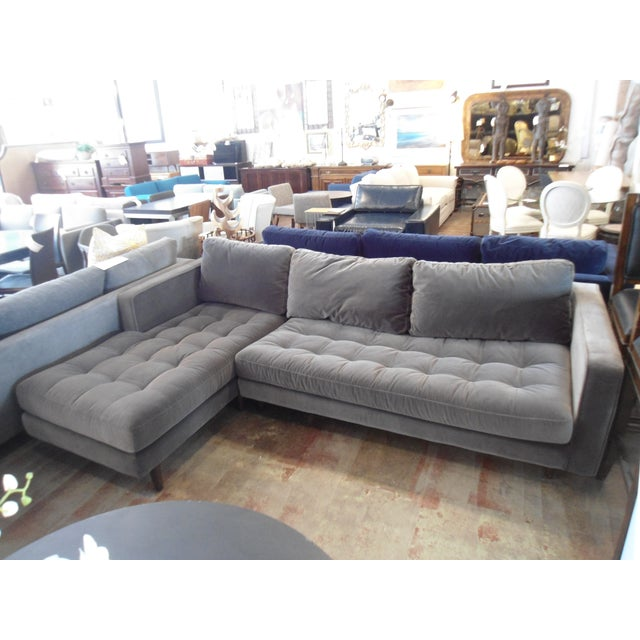 Shadow Gray Velvet Sectional, Left Chaise, Tufted Seating - Image 6 of 6