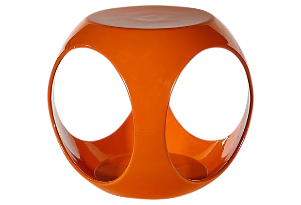 1970s Orange Fiberglass Side Table