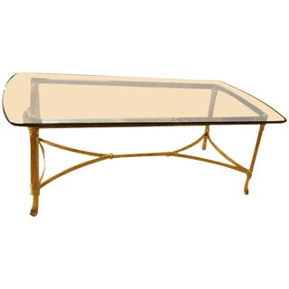 Hollywood Regency Italian Brass & Glass Coffee Table