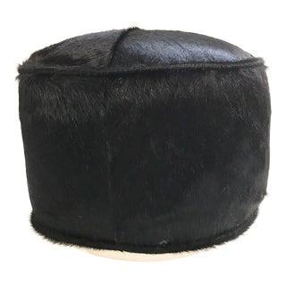 Forsyth One of a Kind Black Brazilian Cowhide Pouf Ottoman