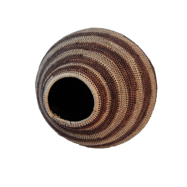 Image of Botswana Primitive Folk Art Handmade African Basket
