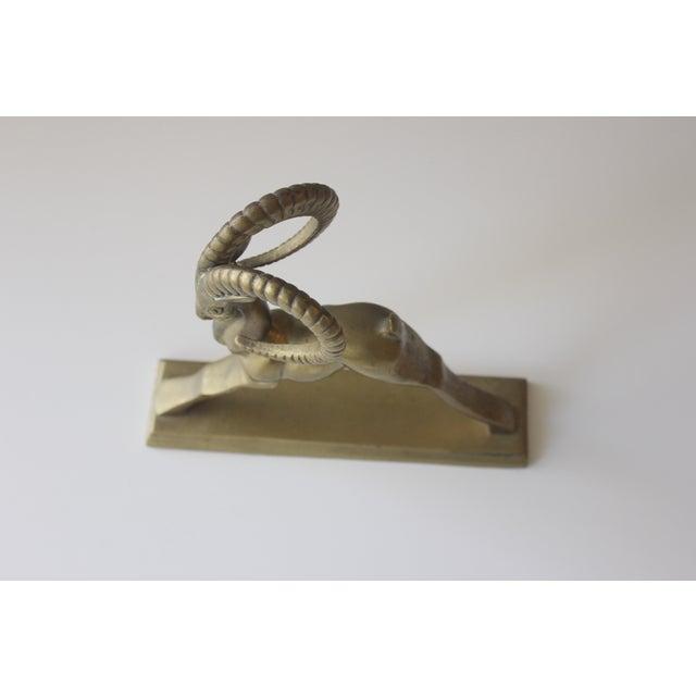 Image of Brass Ibex Rams Head Statue