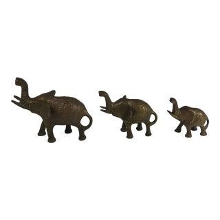 Solid Brass Elephant Figurines - Set of 3