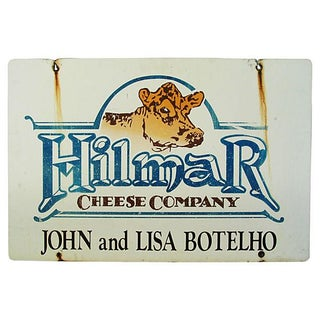 Vintage Large Double-Sided Dairy & Cheese Sign