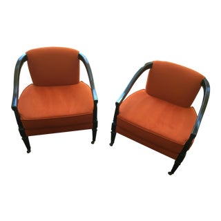Hollywood Regency Barrel Chairs - A Pair