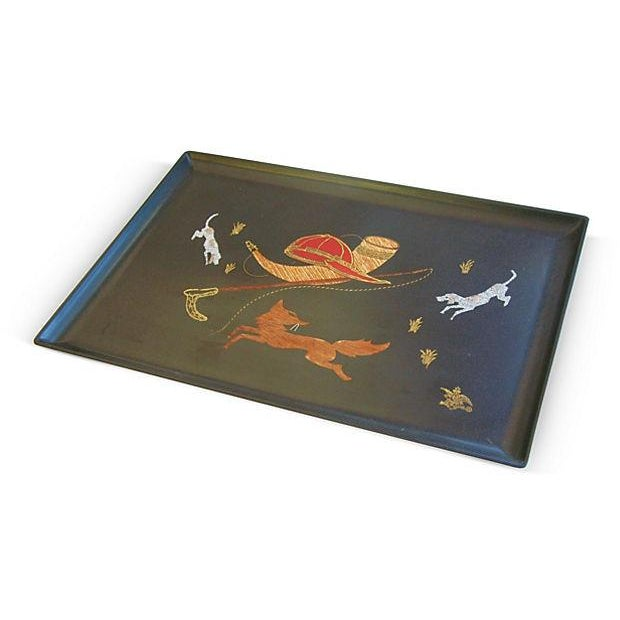 Image of Vintage 1960s Couroc Fox Hunt Tray