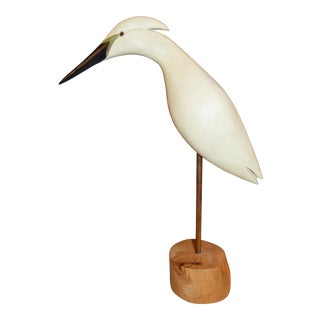 Carved Wooden Crane