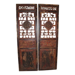 Antique Chinese Door Panels Wall Decor - A Pair