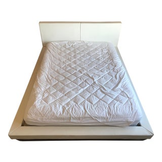 Modani White Leather Queen Bedframe