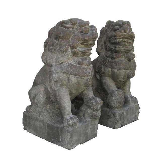 Vintage Stone Foo Dogs- A Pair - Image 3 of 6