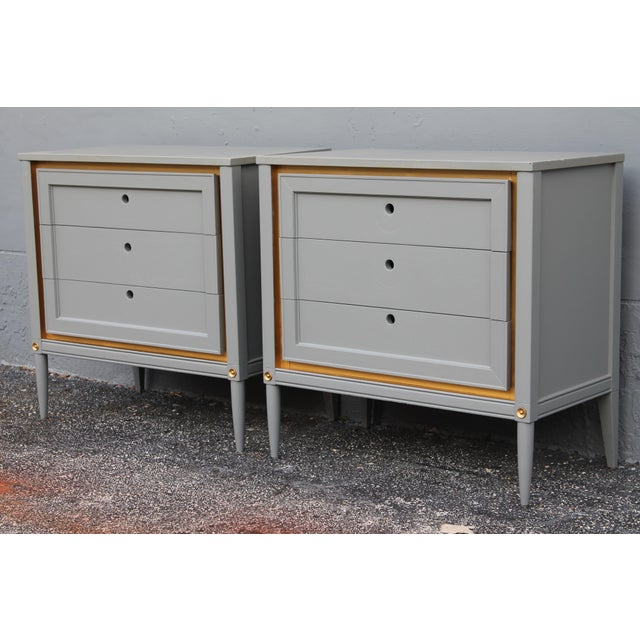 Image of 1960s Slate Blue & Gilt Accent Bachelor's Chests - A Pair