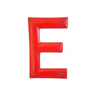 1950s Red Enameled Porcelain Letter E