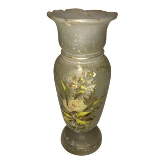 Opaque Glass Floral Motif Vase