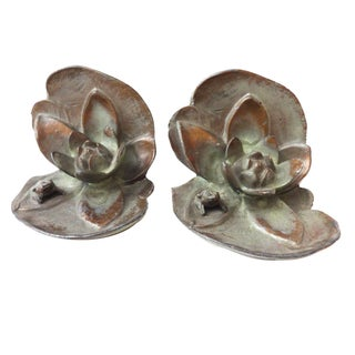 Bronze Frog Lily Flower Bookends- A Pair