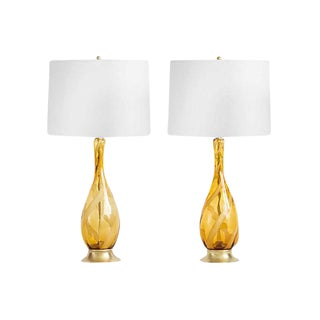 Murano Ribbon Swirl Glass Lamps - a Pair