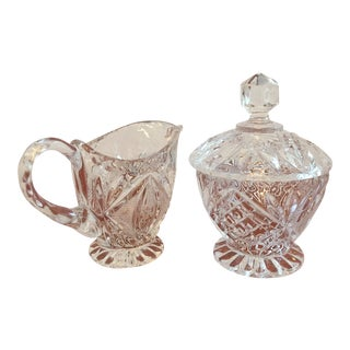 Vintage Cut Glass Cream & Sugar Set with Lid