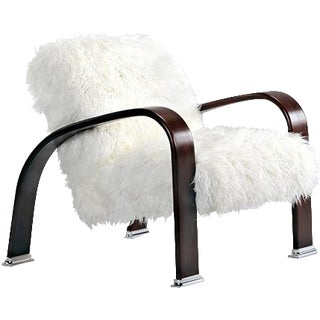 Mongolian White Faux Fur Lounge Chair