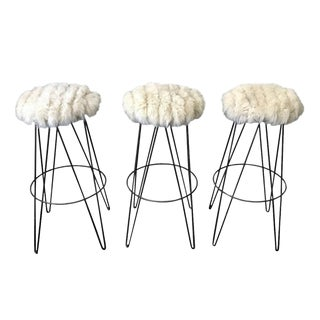 Set of Three Thinline of California Barstools in Fox Fur
