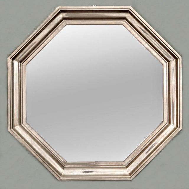 Image of French Art Deco Metallic Octagonal Mirror