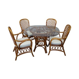 South Sea Rattan Collection Glass Top Dining Set
