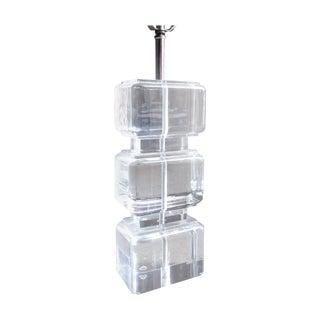 Karl Springer Style Lucite Block Table Lamp