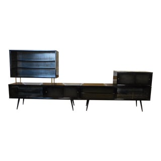 Vintage Mid Century 1950s Black Lacquered Over Wood Living Room Wall Unit Cabinet