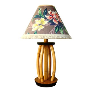 Vintage Bamboo Table Lamp W/ Custom Barkcloth Shade