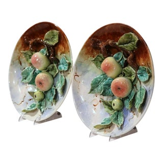 19th Century French Hand Painted Barbotine Apples Wall Plates - A Pair