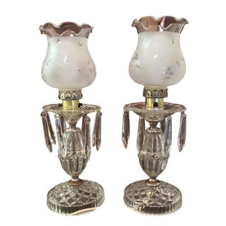 Small Glass Crystal Boudoir Table Lamps - A Pair