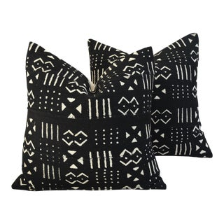Boho-Chic Mali Mud Cloth Tribal Design Pillows - a Pair