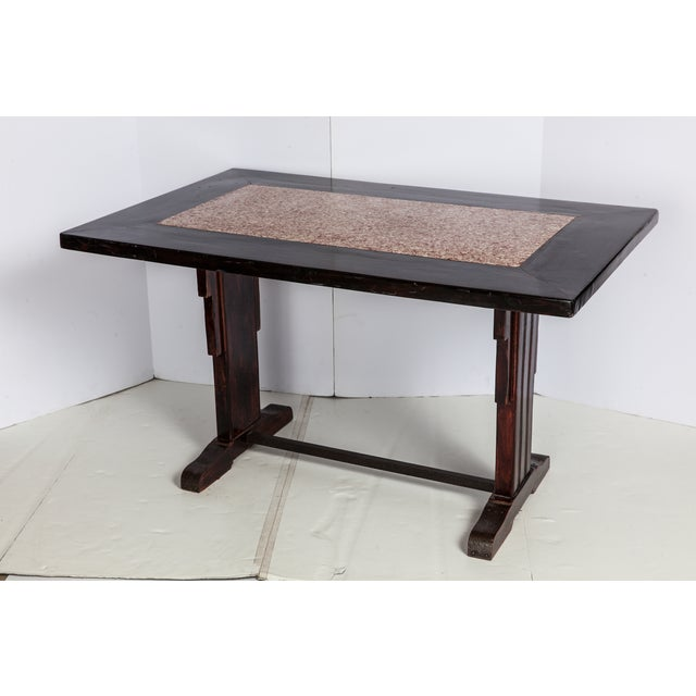 French Wooden Table With Marble Inlay - Image 4 of 6