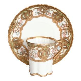 Vintage Noritake Gold Encrusted Porcelain Cup & Saucer