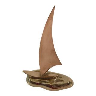 Mid-Century Brass & Copper Sailboat