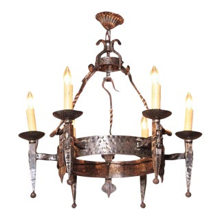 Early 20th Century French Wrought Iron Six-Light Chandelier With Fleur-De-Lys