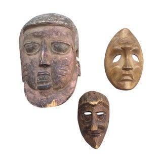 Wooden Masks - Set of 3