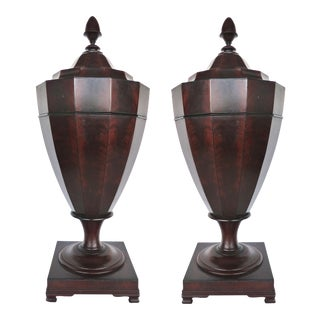 Mahogany Urn Form Knife Boxes - A Pair
