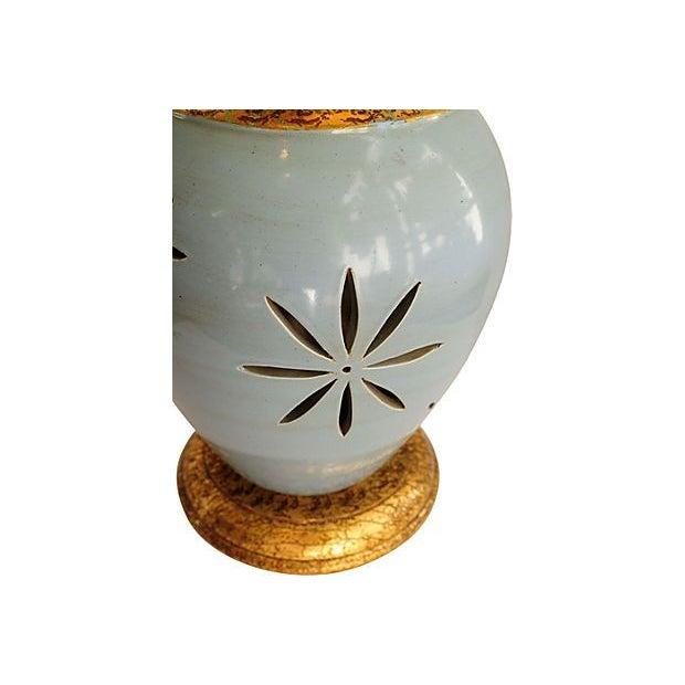 Vintage Blue & Gold Ceramic Table Lamp - Image 3 of 4