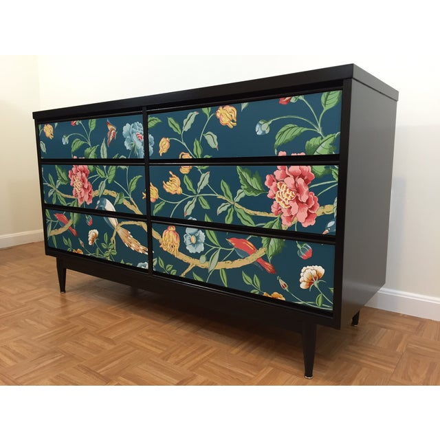 Asian Printed Mid-Century 6-Drawer Dresser - Image 3 of 6