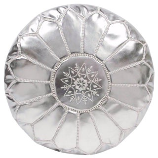 Embroidered Faux Metallic Leather Pouf, Silver on Silver