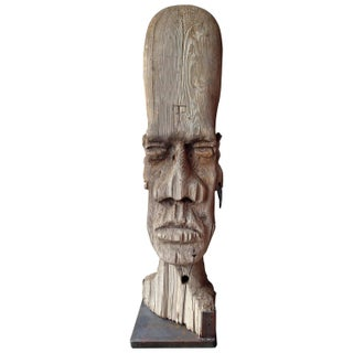 Vintage Hand Carved Wood Face Sculpture