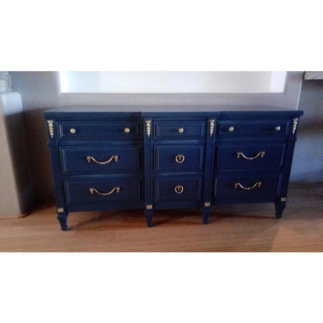 Drexel San Remo High Gloss Blue Nine Drawer Dresser Credenza - Image 2 of 7