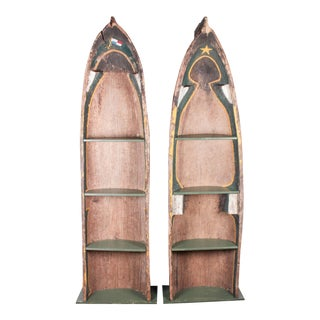Primitive Polychrome & Wood Native Canoe Shelves - A Pair