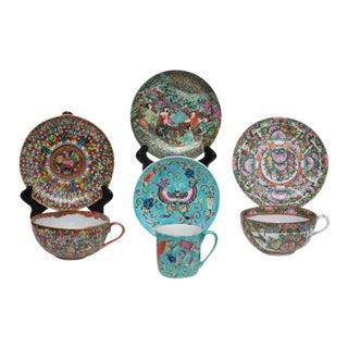 Antique Meiji Kutani, Famille Rose & Famille Verte - Set of 7